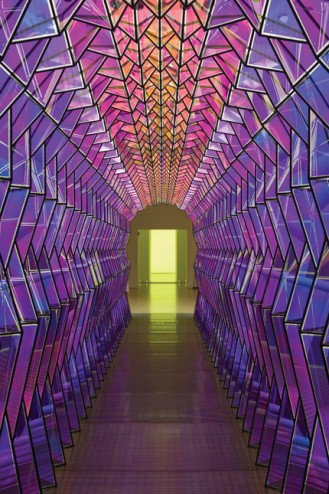 The prismatic bridge constructed at the entry to Olafur Eliasson's exhibit at the San Francisco Museum of Modern Art